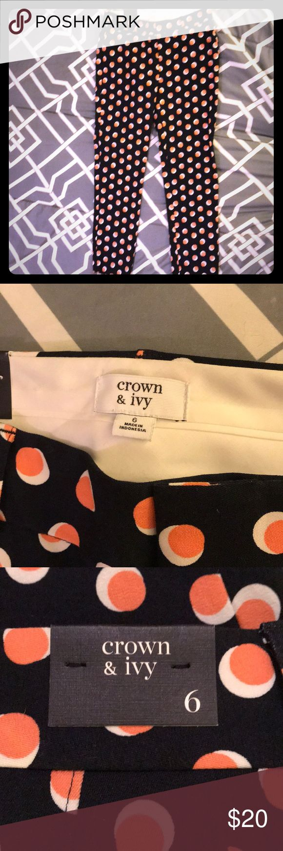 Crown and Ivy Pants Size 6 Crown and Ivy pants from Belk. Fun pattern of navy pants with white and coral polka dots. Never been worn. Brand new with tags. crown and ivy Pants Skinny