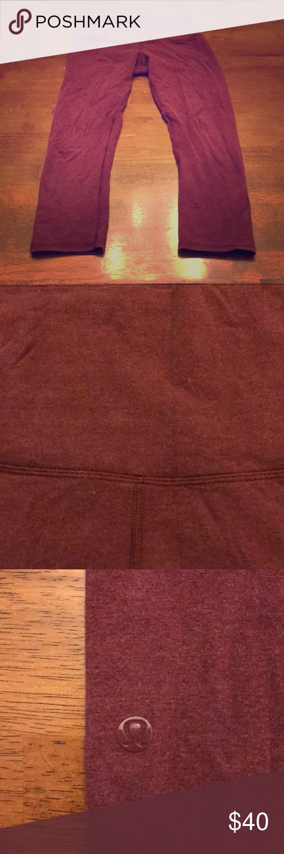 lululemon athletica cotton WU crops Only worn a few times....burgundy in color, high waisted, cotton crops! lululemon athletica Pants Leggings