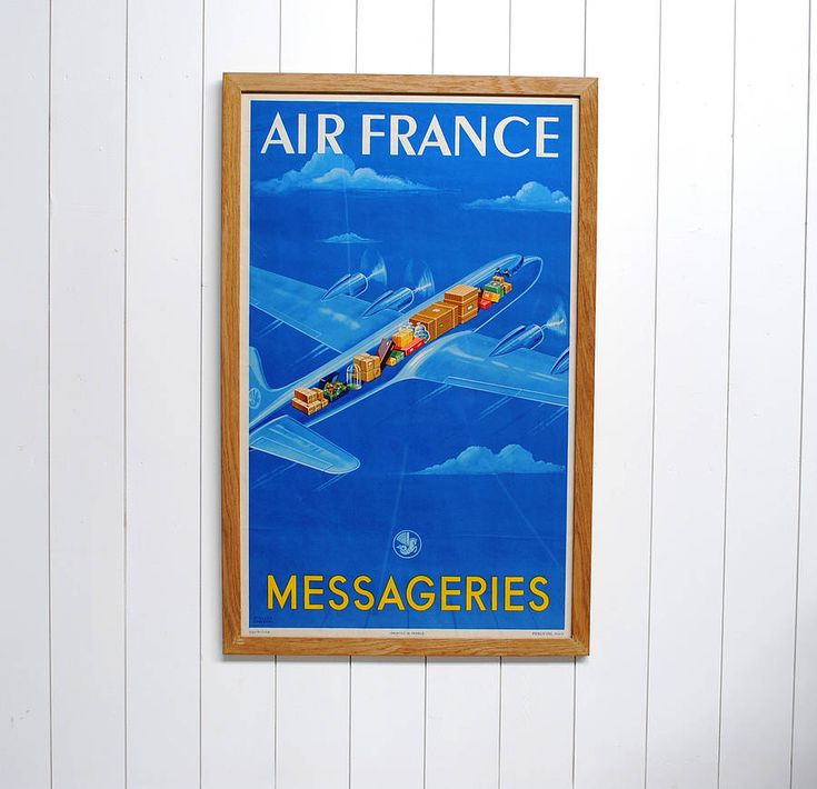 framed original air france travel poster by the poster collective | notonthehighstreet.com