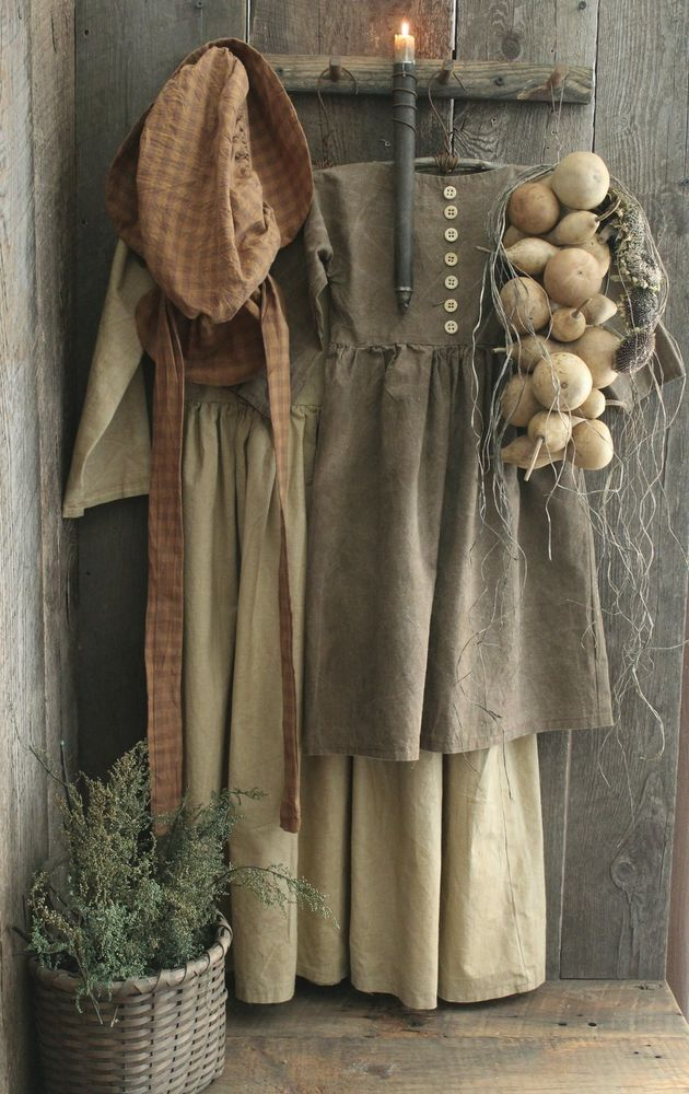 Primitive Early Homestead Look Pegboard w/Dresses/Bonnet/Gourds/Candle Holder