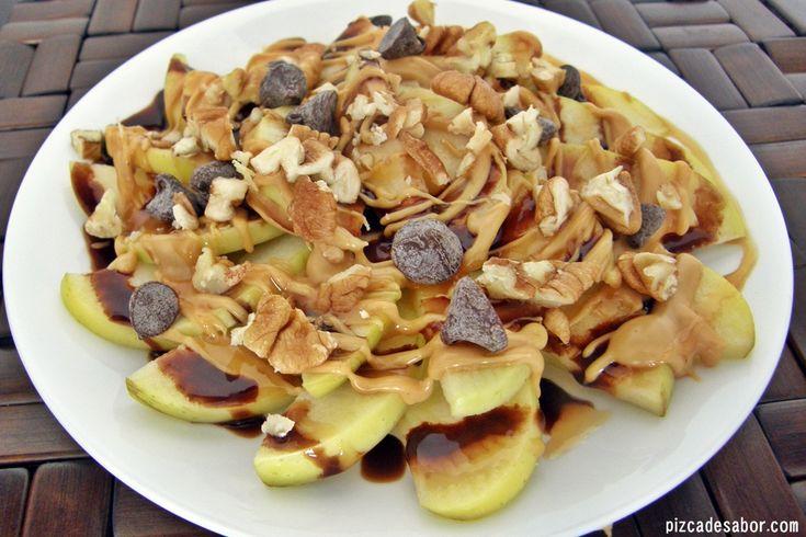 Nachos de manzana con caramelo, chocolate y nueces - Pizca de Sabor
