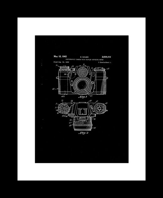 Free Art Download - Vintage Patent Design of Camera with Coupled Exposure Meter – E. Sauer, 1962