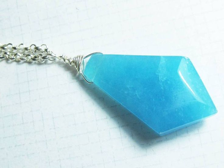 Blue Jade Pointy crystal  Chakra necklace One of a kind