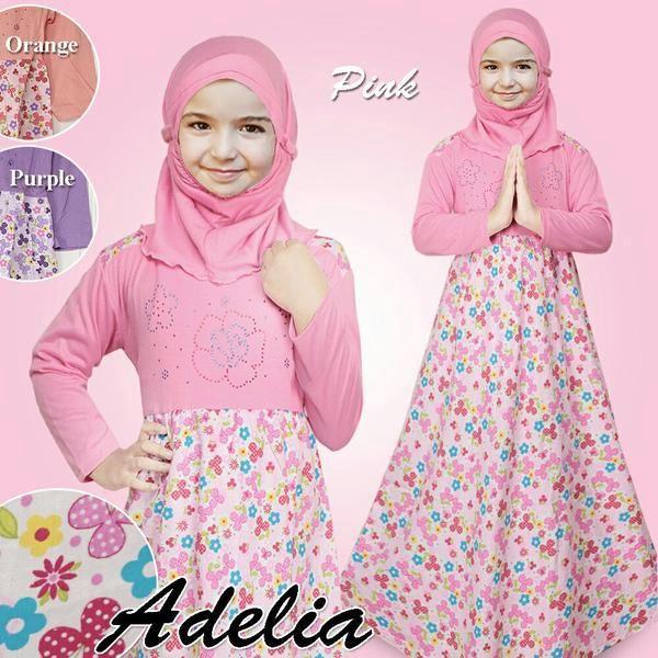 Gamis Baju Anak Perempuan Motif Bunga Mote   Busana Muslim Anak