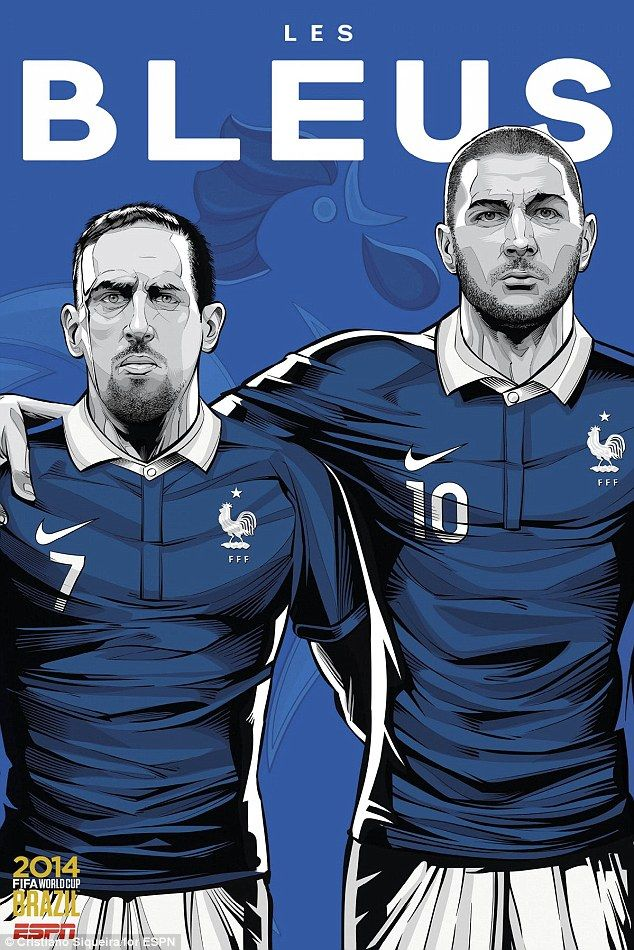 Franck Ribery and Karim Benzema are the stars for Les Bleus in the France poster...