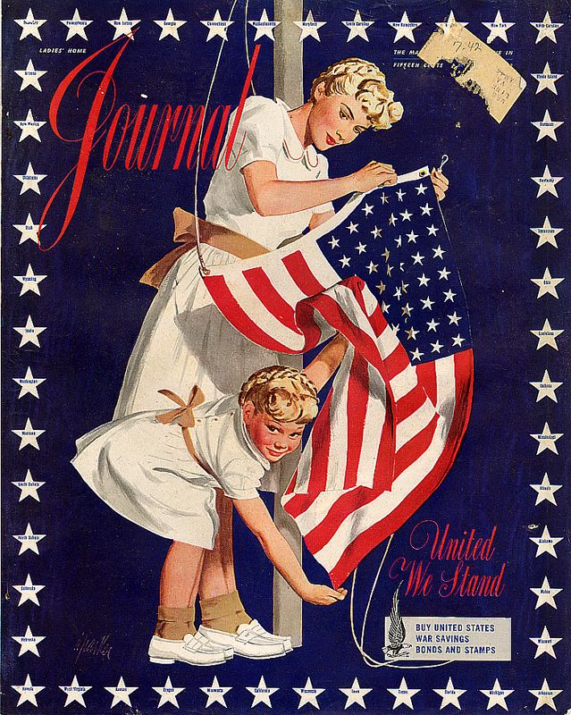 1942 Ladies Home Journal cover illustration of a mother and daughter holding an American Flag for their 4th of July magazine issue. Vintage Independence Day.