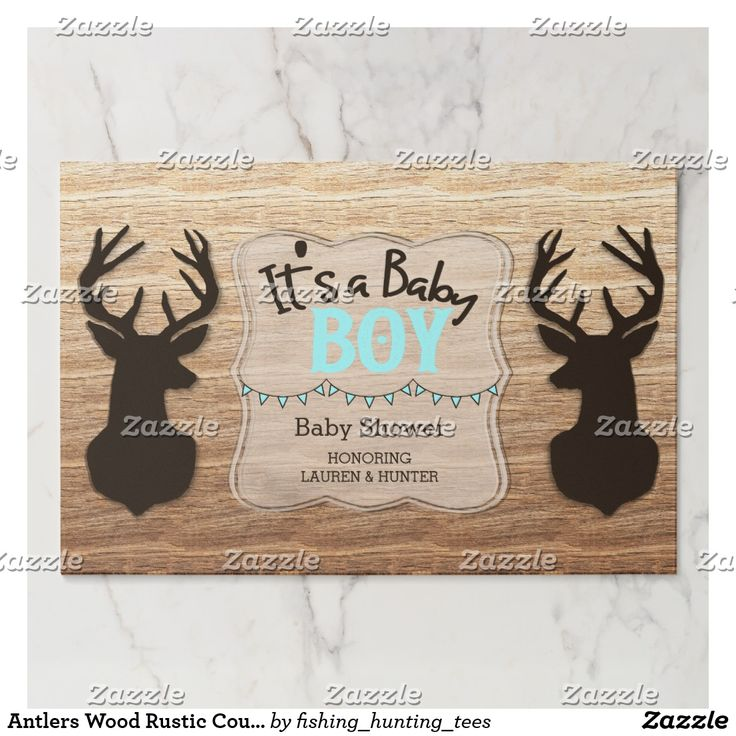 Antlers Wood Rustic Country Its A Boy Baby Shower Placemat Personalize this beautiful custom designed baby shower product. This product features a brown buck head and antlers with a wood background. Great for a rustic, country, hunter or outdoor themed baby shower.