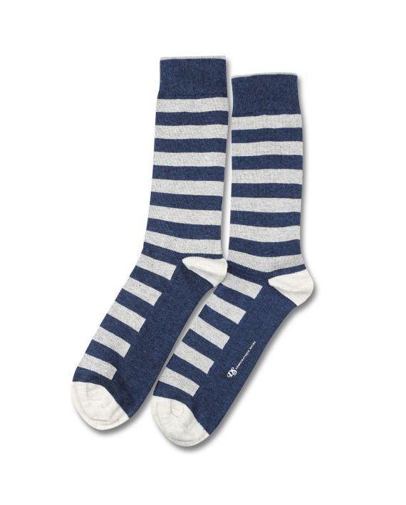 Democratique Socks ORIGINALS STRIPER Denim Melange / Off White Melange