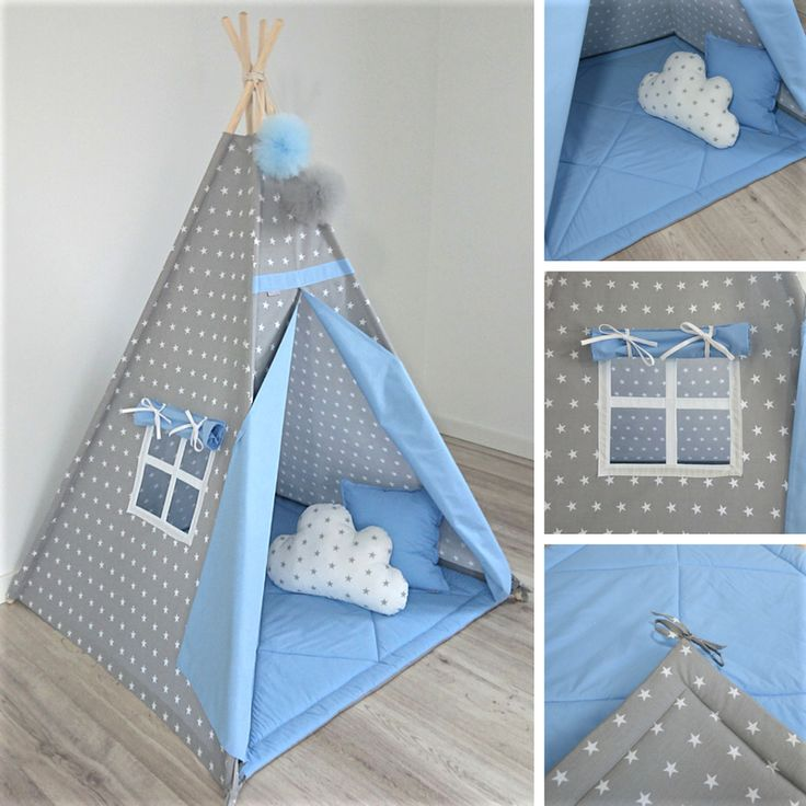 TEEPEE SET WITH PILLOWS - GREY