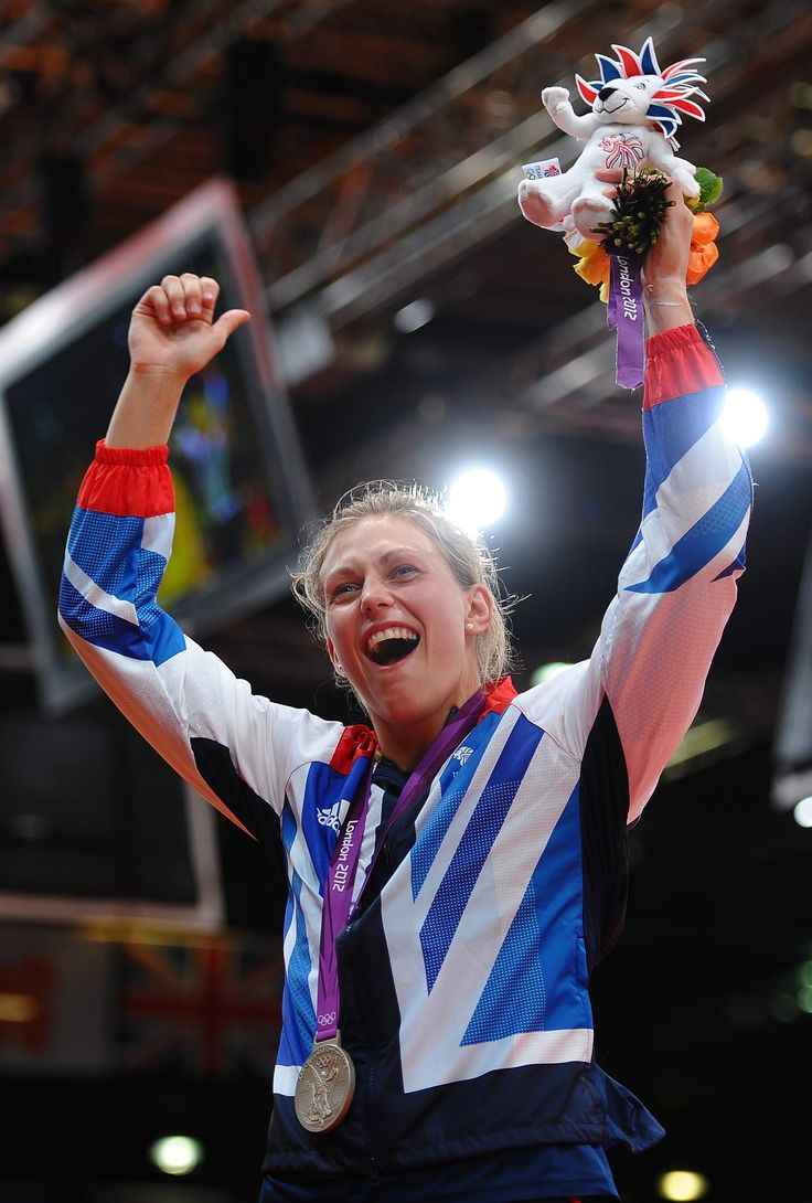 Team GB's Gemma Gibbons celebrating after collecting her silver medal in the Judo competition at the 2012 Olympic Games in London.