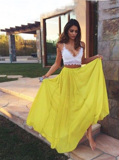 Buy Simple-dress Sexy Two-pieces White Top Yellow Skirt 2015 Prom Dresses/Evening Dresses/Holiday Dresses CHPD-70745 2016 Prom Dresses under US$ 124.99 only in SimpleDress.