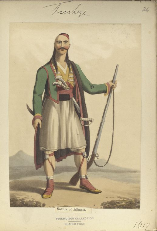 Soldier of Albania. The Vinkhuijzen collection of military uniforms / Turkey, 1818. See McLean's Turkish Army of 1810-1817.