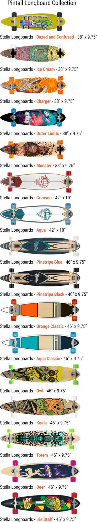 Pintail Longboard Collection from Stella Longboards #longboard @longboardsusa #pintail