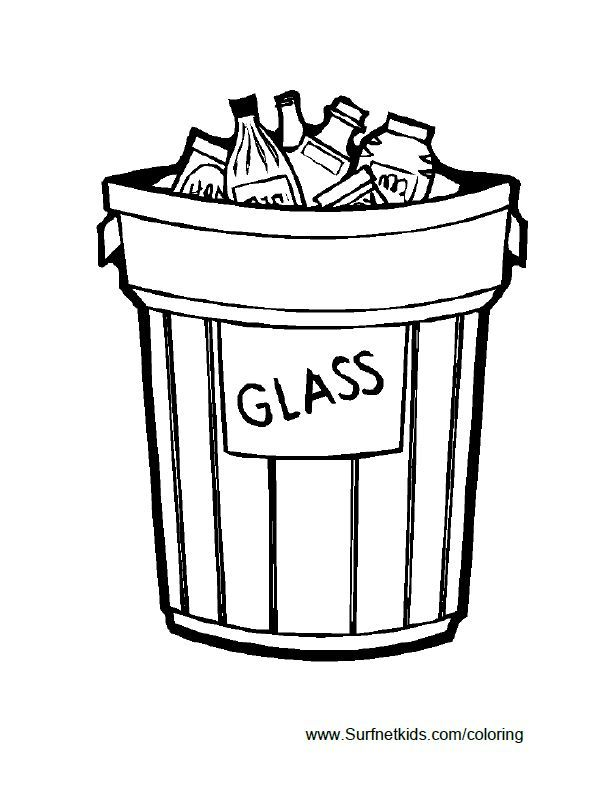 A Trash Can Full Of Glass Bottles Earth Day Coloring Pages Coloring Pages For Kids Coloring Pages