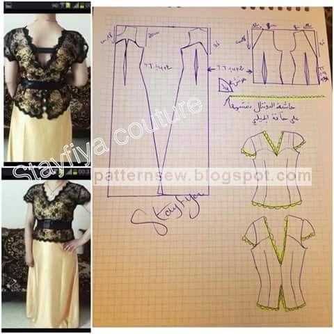 2 pieces dress pattern  باترون خياطة ,باترون قنادر الدار , باترون قنادر عراس وباترون ملابس تقليدية