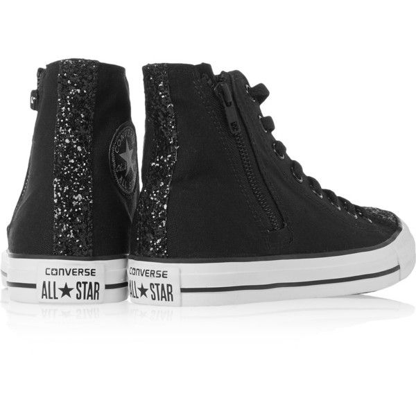 Converse Chuck Taylor glitter-trimmed canvas high-top sneakers ($52) ❤ liked on Polyvore featuring shoes, sneakers, black high top sneakers, canvas high tops, canvas sneakers, high top sneakers and glitter high top sneakers