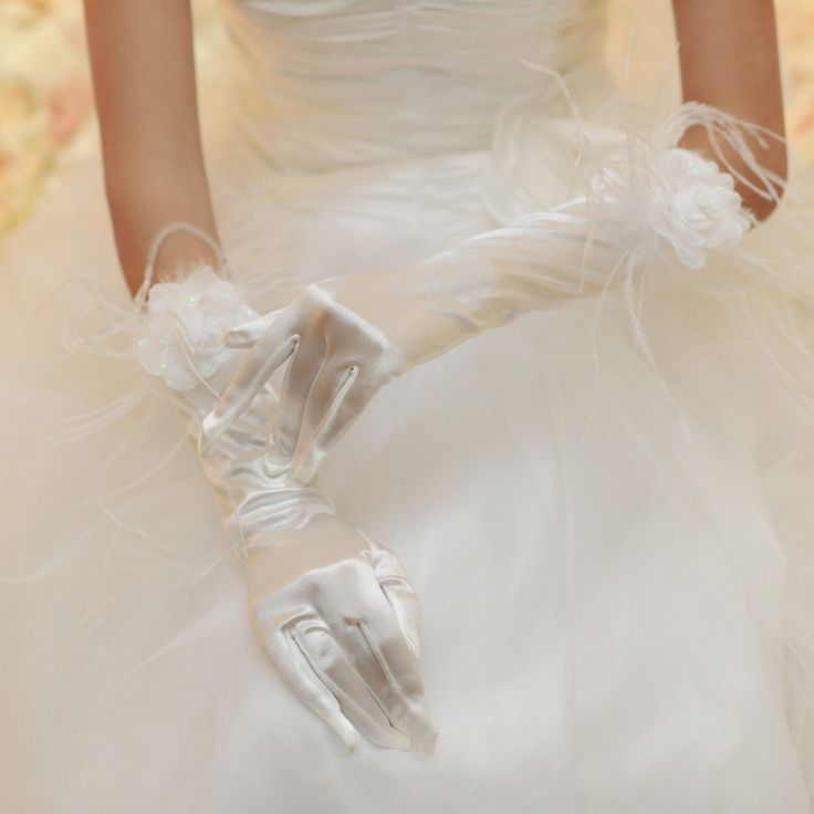 White handmade flower feather Bridal Gloves