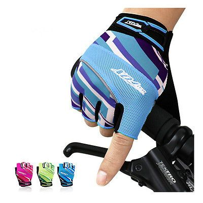 Cycling Bike GEL Mitts Silicone Shockproof Fingerless Half Finger Gloves S-XL