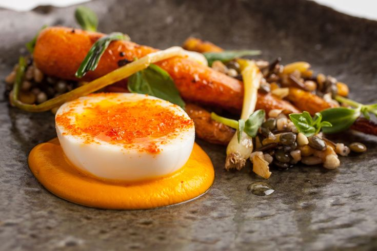 Cured carrots with lentils, sunflower seeds and black garlic (John Frase, Michelin-starred restaurant Dovetail, NYC)