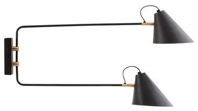 Applique Club Double / 2 bras pivotants métal - L 81 cm Noir et Laiton - House…