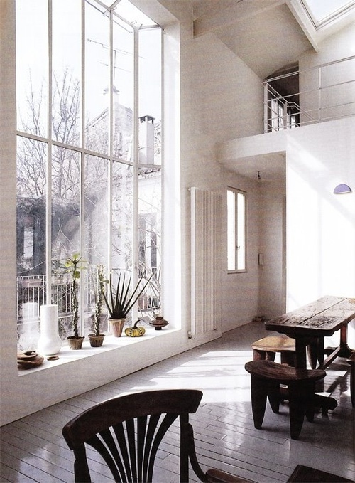 huge window - usually these are black - here I like them painted in white