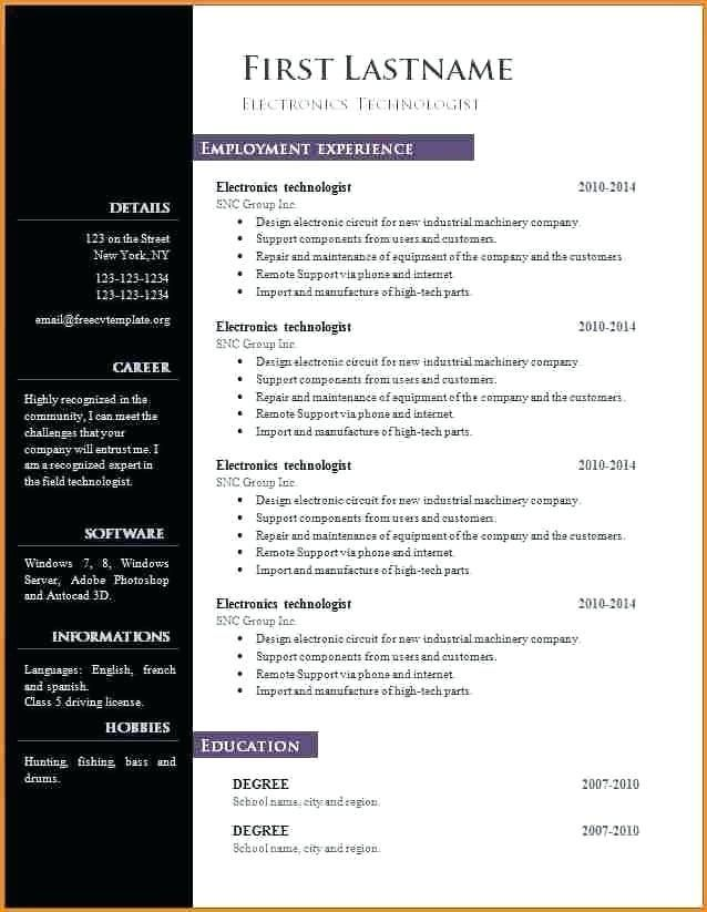 Libreoffice Resume Template Free Microsoft Word Resume In 2020 Microsoft Word Resume Template Resume Template Word Cv Template Word