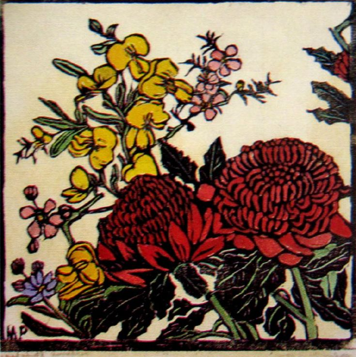 AustraliaWaratah etc. by Margaret Rose (MacPherson) Preston (1875-1963), Woodcut, hand coloured, inscribed with title lower left, 25.5 x 25.5 cm