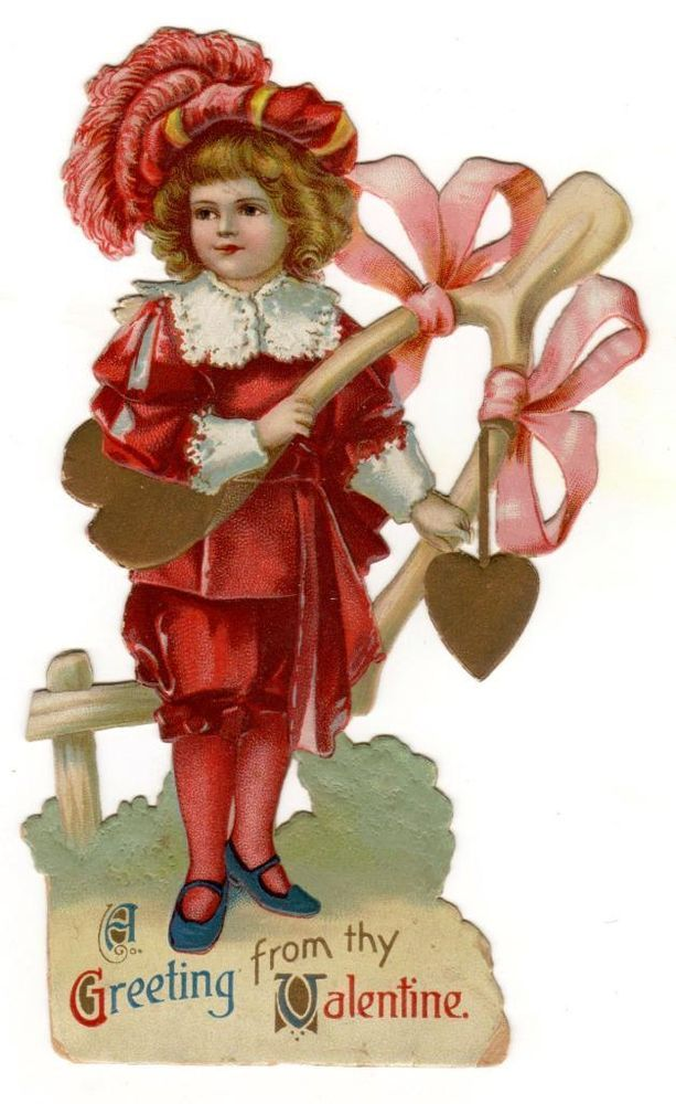 Victorian VALENTINE Card Die-Cut  Embossed Litho BEAUTIFUL CHILD w/ WISHBONE
