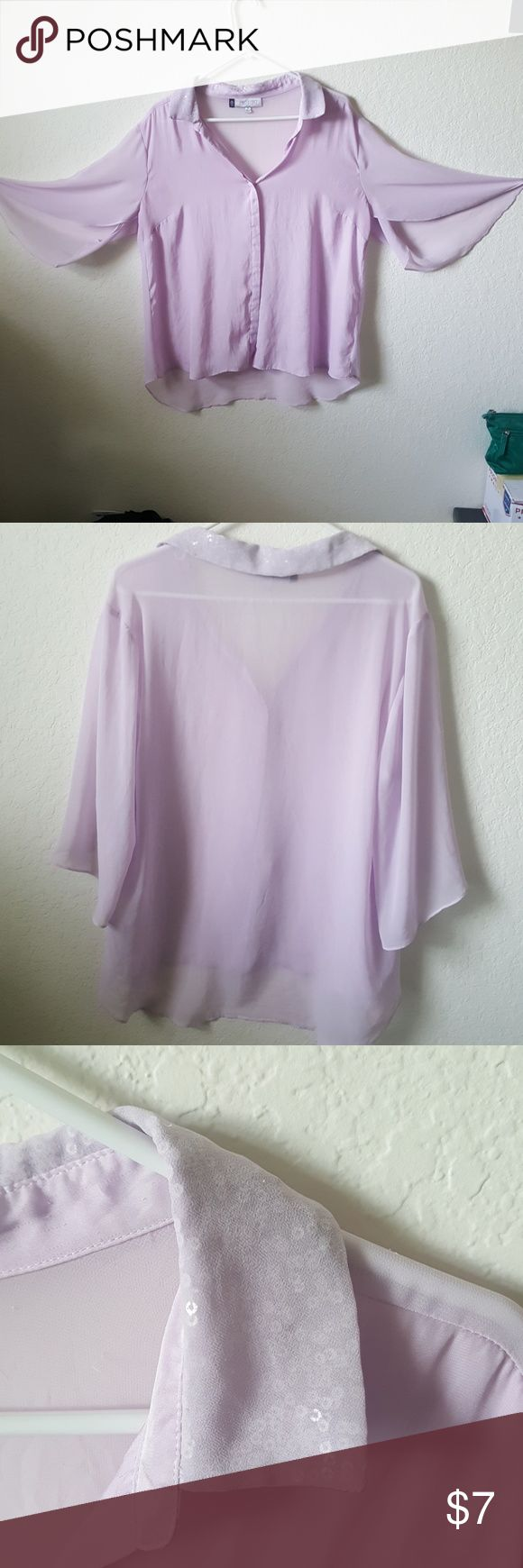 Jennifer Lopez Sheer Lilac Blouse w Sequin Collar Has been worn. No longer my size and is very well taken care of. I always price my items as low as possible so you can bundle and save when you purchase 3 there is a 20% discount. I accept offers. This is a completely smoke-free home.  Thank you so much for stopping by my closet! Happy poshing Jennifer Lopez Tops Blouses