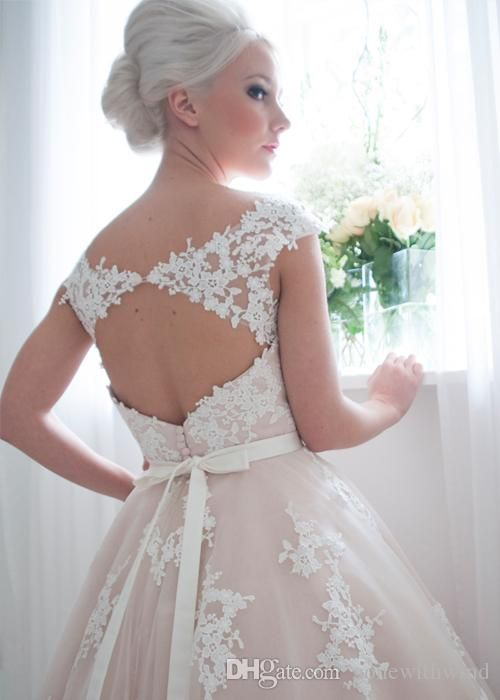Beach Wedding Dresses Cheap Knee Length Bateau Tulle And Lace Applique A Line Bridal Party