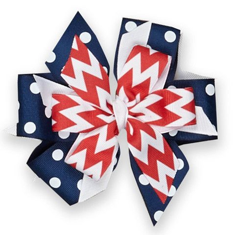Red Chevron Navy Dot Boutique Bow – Lolly Wolly Doodle
