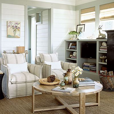 2010 Coastal Living Ultimate Beach House: The Living Space - great tip, white walls with coloured trim, to fit the landscape. love the carpet.