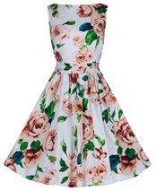 Exquisite Roses Cream Tea Dress