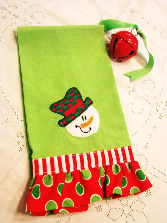 Tea Towel/Hand towel with applique snowman and ruffle trim