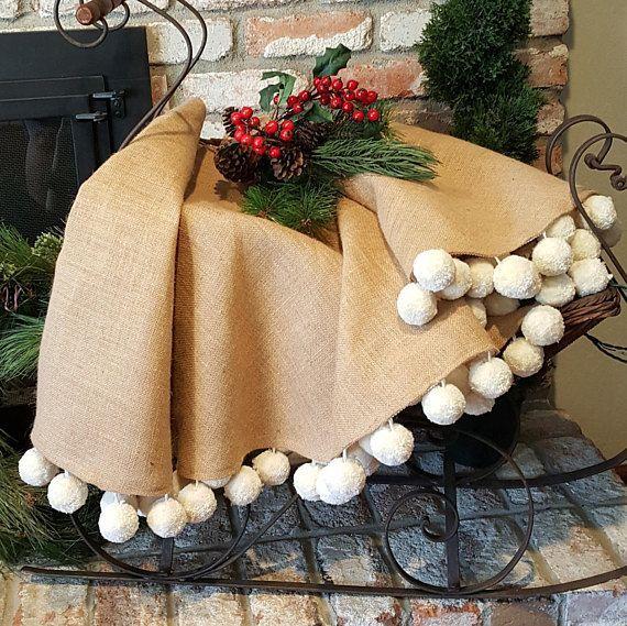 large jumbo pom pom christmas tree skirt in natural burlap heavy hand made 155 - Large Christmas Tree Skirts