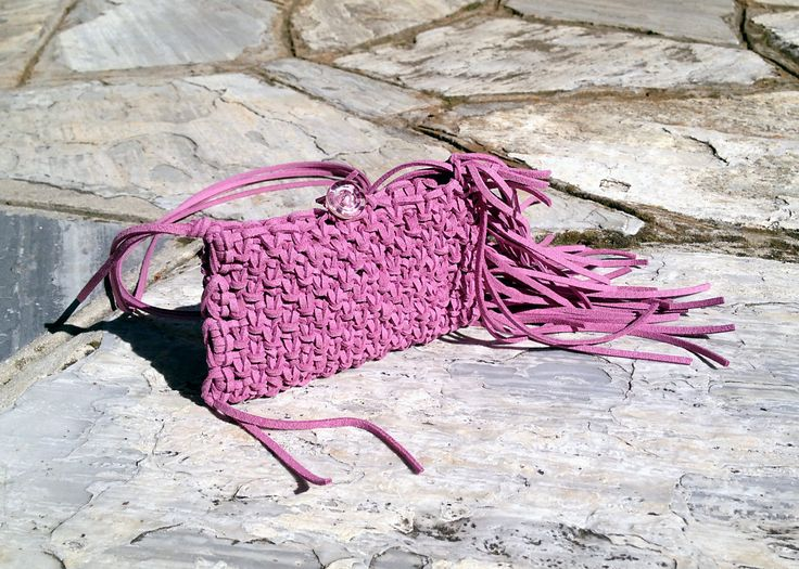 Cute macrame suede small violet purse with fringes. by Hishuk on Etsy