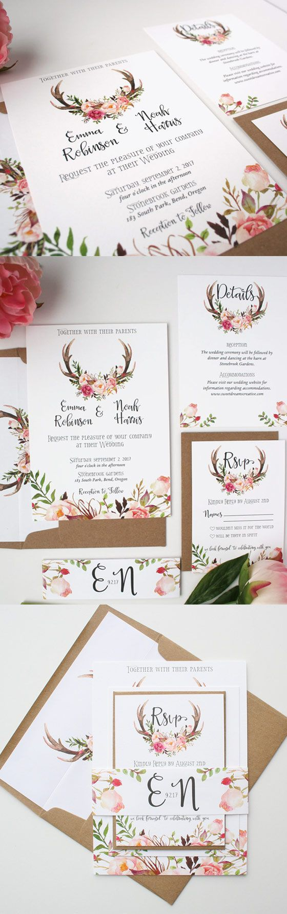 second wedding invitations wording%0A Antler Wedding Invitations  Blush Pink  Wedding Invitations  Floral  Antler Collection Sample Set