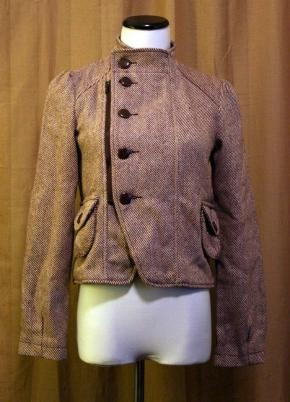 Brown and cream tweed military jacket, new with tags