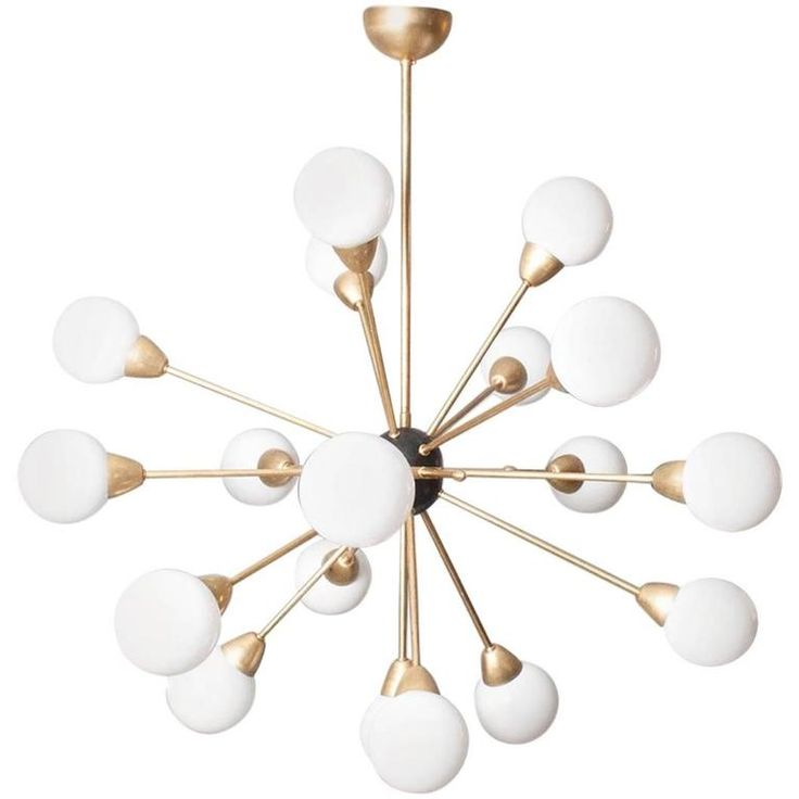 Oiled Brass with Black Centre Sputnik Chandelier For Sale at 1stdibs