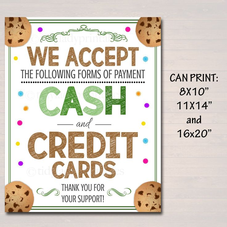Printable credit card sign fundraising booth bake sale