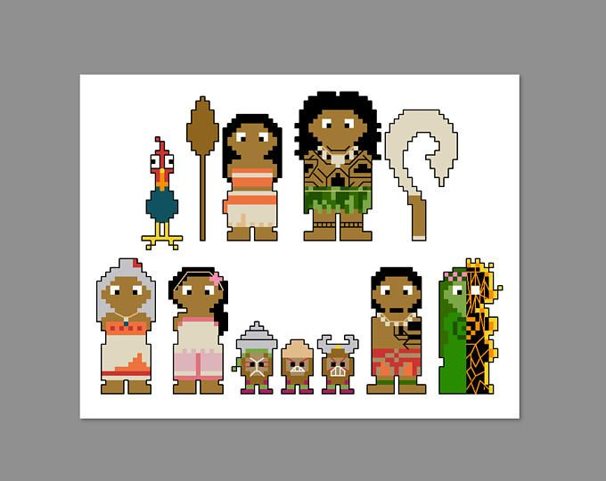 Moana Pixel People Character Cross Stitch PDF PATTERN ONLY