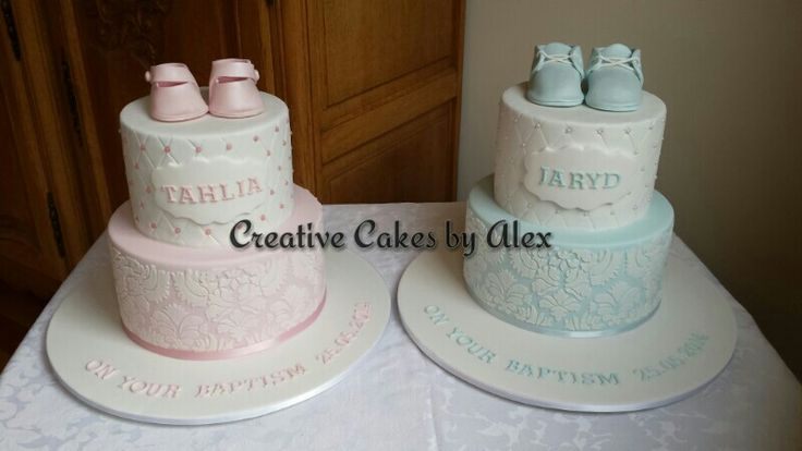 Twin christening cakes by Creative Cakes by Alex