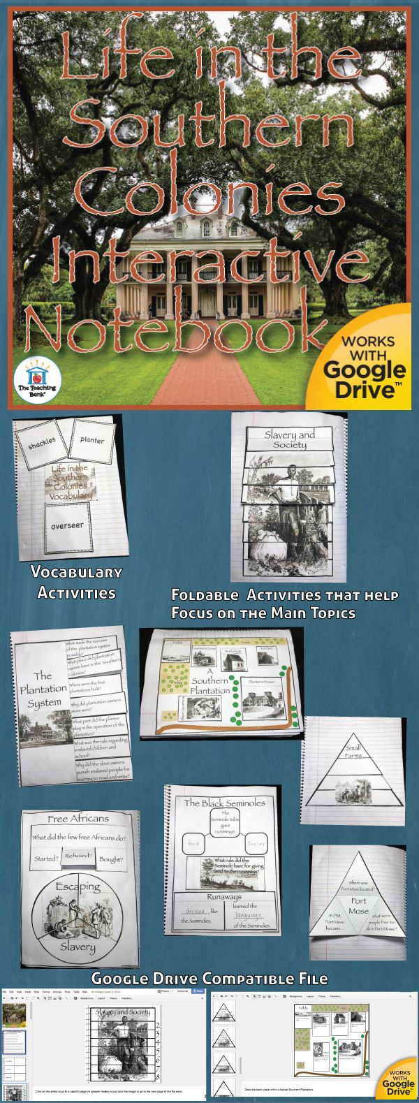 Life in the Southern Colonies Interactive Notebook, which works for both print and Google Drive™, investigates and helps gain understanding of the early colonist settlements of the Southern Colonies. Geared as a unit in the 5th grade study of United States History.