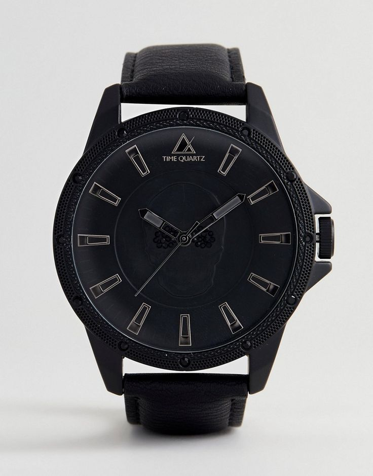 ASOS Oversized Watch In Monochrome With Skull Design And Crystals - Bl