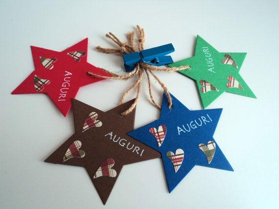 Tag etichette Natale chiudi pacco stella con tre di scartabella, €2.20