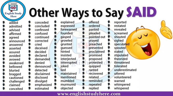 Other Ways to Say SAID   Ways to say said, Other ways to