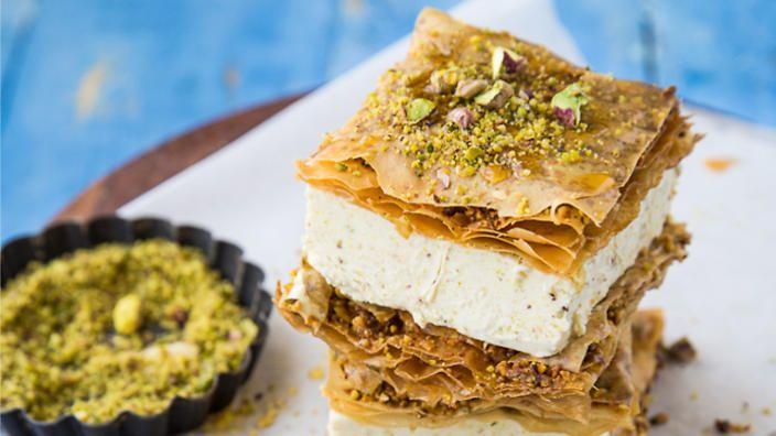Baklava and pistachio ice-cream sandwich | Dessert recipes | SBS Food