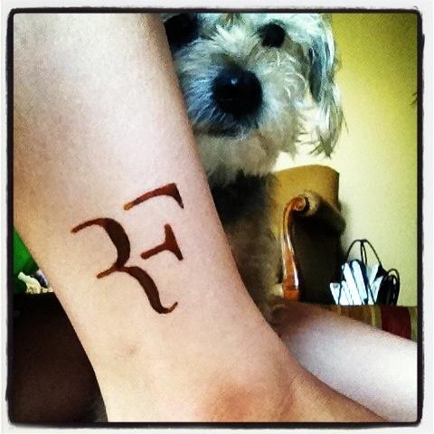 Roger federer logo done with henna and Sammy :)