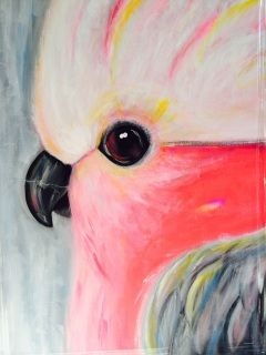 Original acrylic galah painting, 600m x 120mm Would look really pretty on a girls bedroom wall or if you love birds like I do it could be placed on any wall. Pickup from Geelong