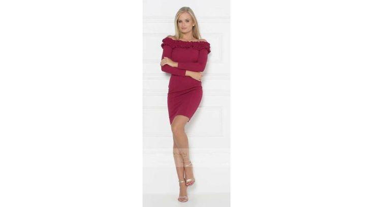 Envy T-vállú fodros bordó ruha
